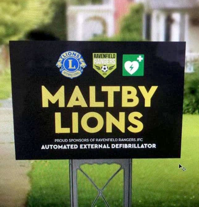 Maltby (Rother Valley) Lions are proud to support Ravenfield Rangers JFC in their purchase of an automated outdoor defibrillator.