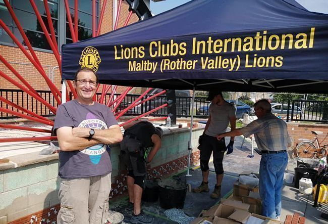 Lions gazebo shelters Maltby Miners Memorial volunteers