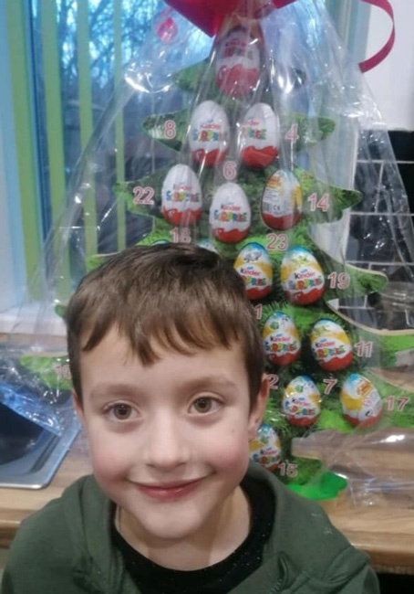 """The winner of our Advent Tree raffle at St. Josephs Catholic Primary School, Dinnington. Well done, and thank you to the school for fundraising for Maltby Rother Valley Lions. A message from Harley; """"Thank you very much for being so kind"""""""